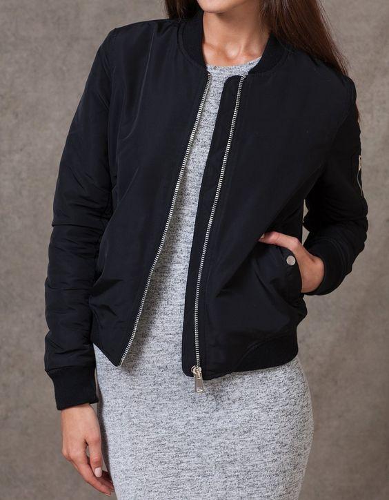 blouson bomber vestes femme stradivarius france bomber jacket blouson aviateur. Black Bedroom Furniture Sets. Home Design Ideas