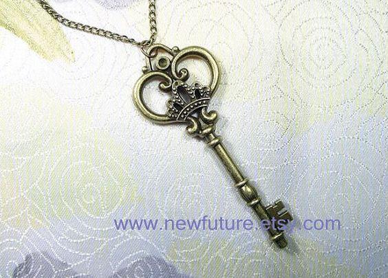 Antique Bronze pendant key necklace alloy by newfuture on Etsy, $0.99