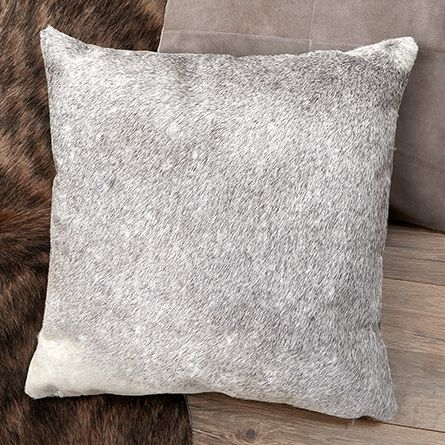 "Grey Hair on Hide 19"" Square Pillow With Suede Back 