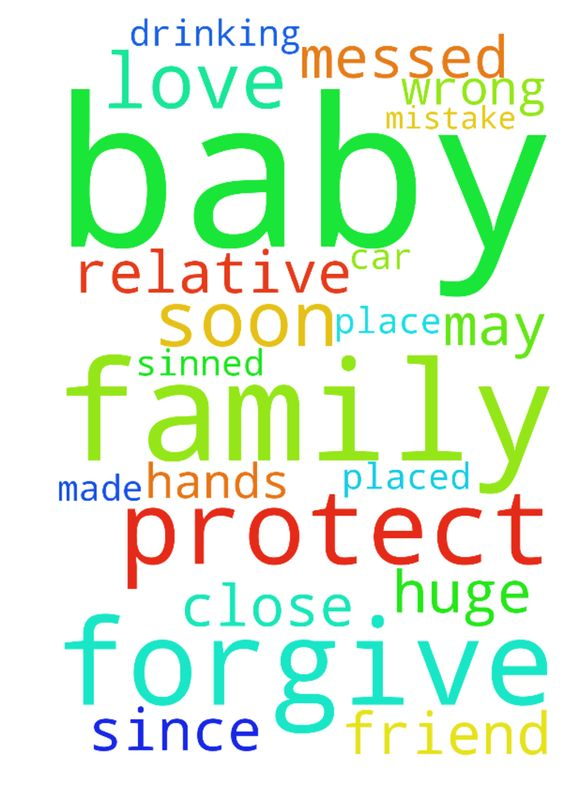 my baby -  	Please pray for my baby to be placed with a family relative or close friend since I have messed up made a huge mistake and had him in the car while having been drinking may my lord forgive me for all my wrong doing please protect my baby and place him with family as soon as you can my lord please protect him my Jesus please in Jesus name I pray please forgive me god for I have sinned I love you GOD AND ALL IS IN YOUR HANDS.�  Posted at: https://prayerrequest.com/t/hcp #pray…