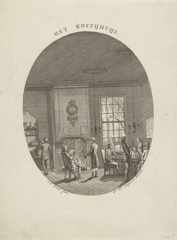 Jan Evert Grave | Koffiehuis, Jan Evert Grave, Dirk Meland Langeveld, c. 1769 - c. 1805 | Het interieur van een koffiehuis in een ovale lijst. In een kamer met open haard staan en zitten verschillende mannen. De mannen roken, lezen de krant of drinken.