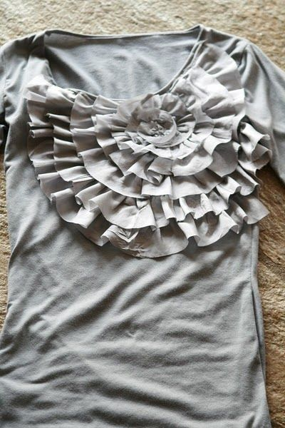 diy spiral ruffle shirt. Free tutorial with pictures.