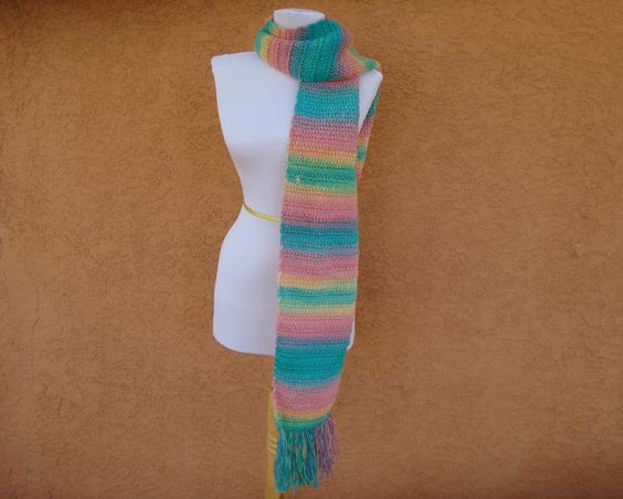 Unforgettable Scarf: CANDY Scarf for Women in Pastel Pink, Yellow, Green and Blue - Crocheted Scarf - Kawaii Scarf - Teenage Girl Scarves by HoookedHandmade