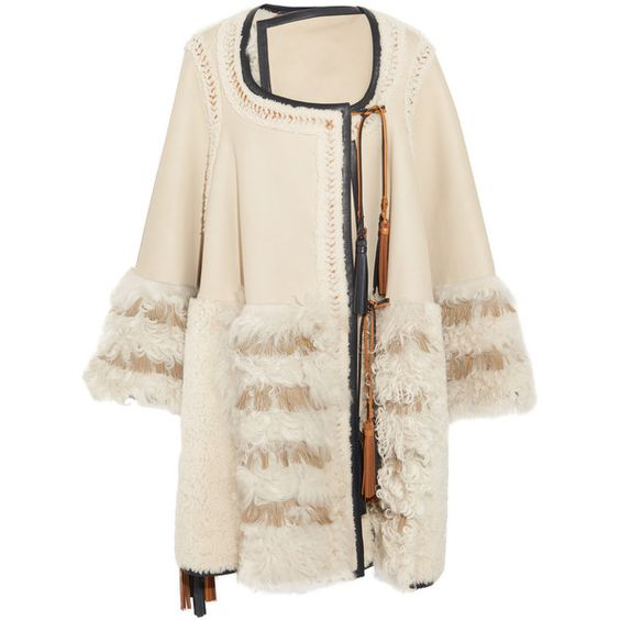 Chloé Chloé - Oversized Leather-trimmed Patchwork Shearling Cape ...