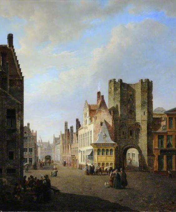 The Gravensteen Gate and the Sint Veerleplein in Ghent, Belgium Pierre-François de Noter (1779–1843).: