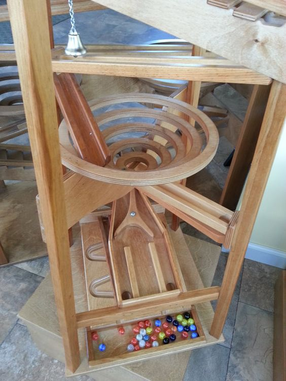 Wooden Marble Pyramid Run Tower Maze Machine By