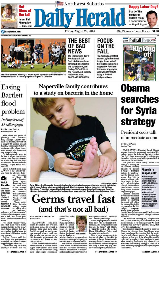 Daily Herald front page, Aug. 29, 2014; http://eedition.dailyherald.com/