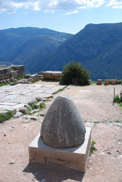 Mythological Center of the Universe, Delphi, Greece. There is quite a walk up to see this!