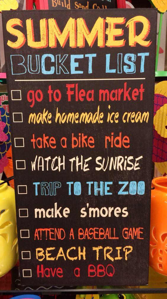 My summer checklist.