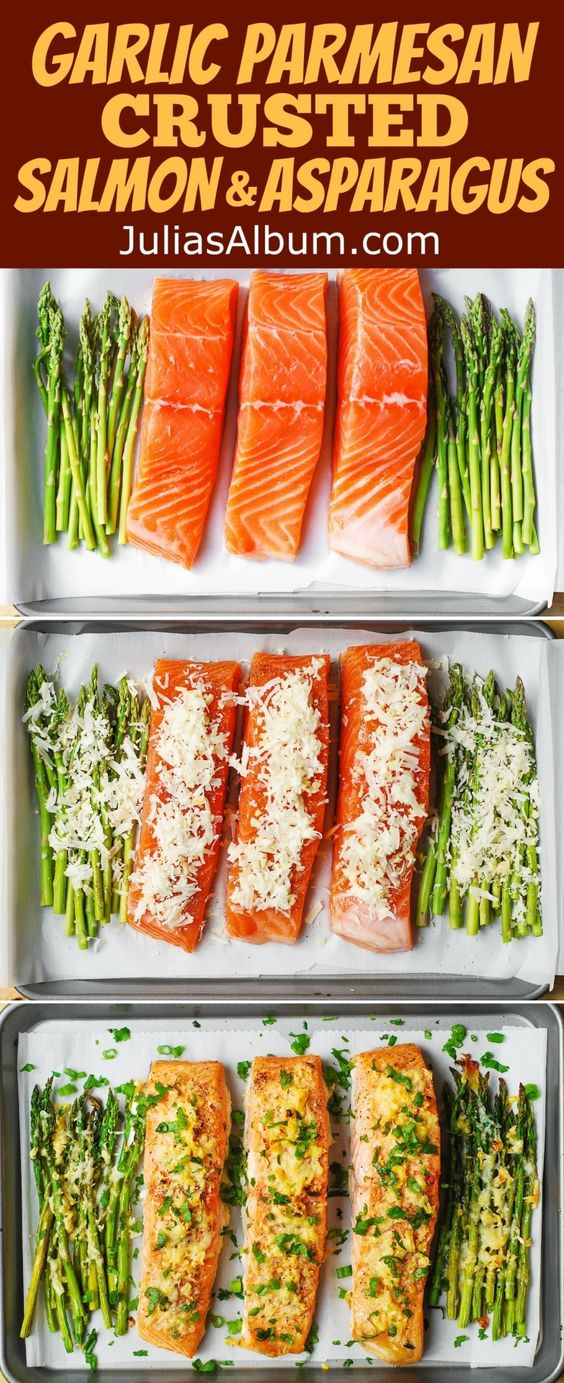 Garlic Parmesan Crusted Salmon and Asparagus - easy, healthy, gluten ...