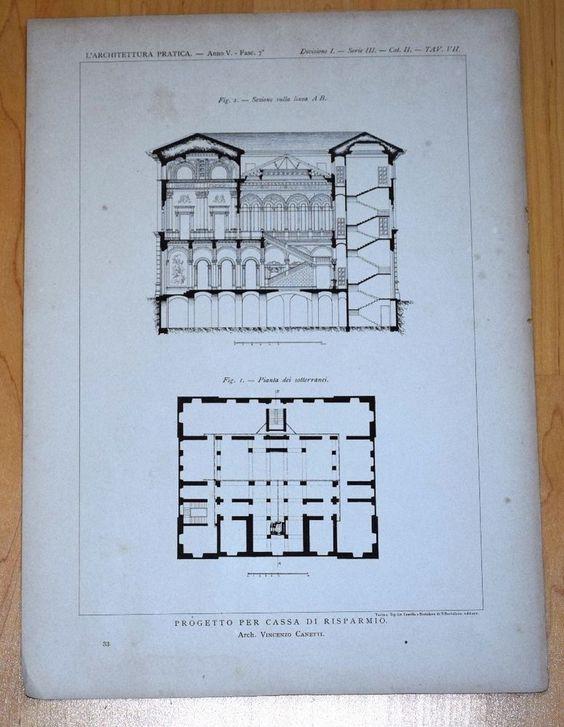 1898 BAUZEICHNUNG FASSADE GRUNDRISS Bank-Gebäude Architektur Vincenzo Canetti