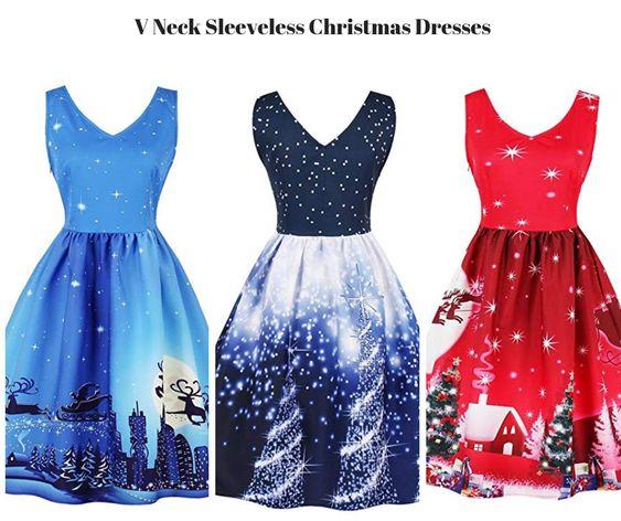 Womens V Neck Sleeveless Christmas Dresses