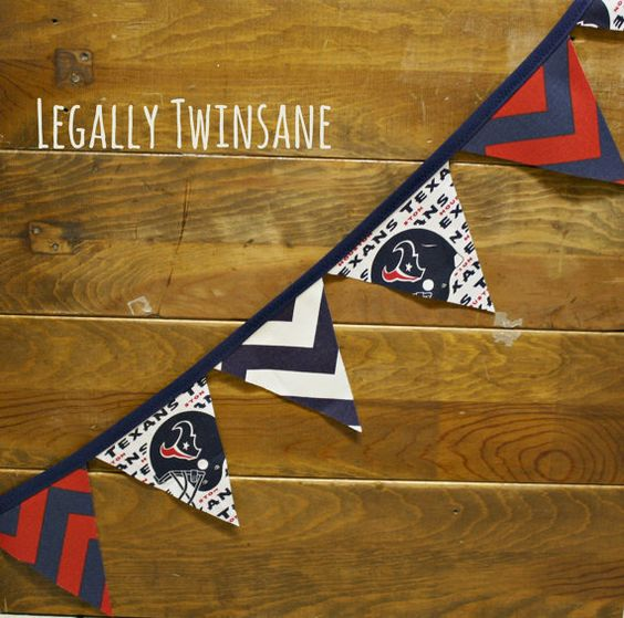 Fabric Bunting banner Houston Texans football party nursery man cave  dorm picnic shower  birthday