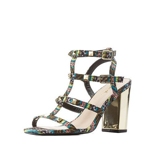 Qupid Studded Chunky Heel Sandals   Charlotte Russe Spring Shoe