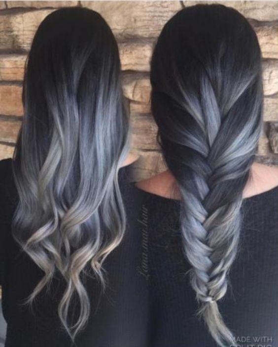 Ash gray ombre balayage hair color brunette black
