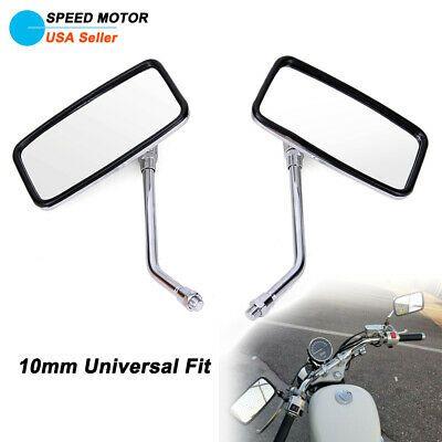 Pair Motorcycle Black Mini Oval Mirrors For Harley Honda Kawasaki Suzuki Cruiser