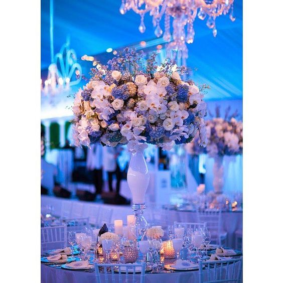 Purple, blue and white wedding decor