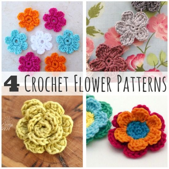 Crochet-A-Day: 4 Crochet Flower Patterns Flower, Crochet ...