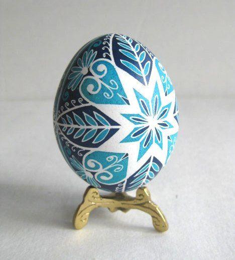 Blue Pysanka - batik egg on chicken egg shell, Ukrainian Easter egg, hand painted egg