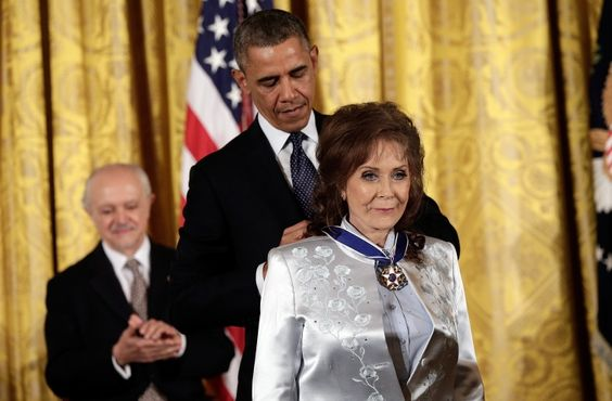 From one GRAMMY winner to another. President Barack Obama presents Loretta Lynn with the Presidential Medal of Freedom on Nov. 20 in Washington, D.C.