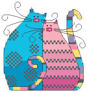 PDF file electronic pattern counted aida digital cross stitch pattern love cat 01. $2.90, via Etsy.