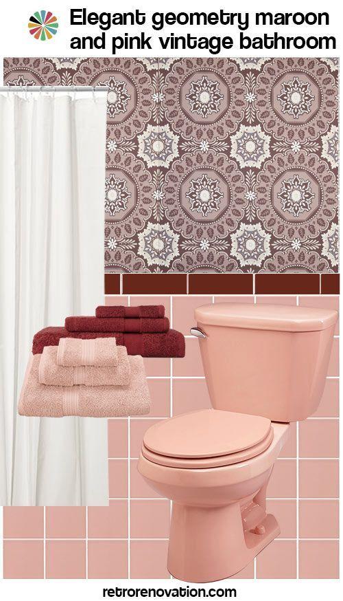 Vintage Maroon And Pink Bathroom Pink Bathroom Burgundy Bathroom Pink Bathrooms Designs