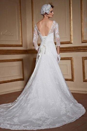 Rétro Robe de mariée avec manches dentelle longueur trois quart ...