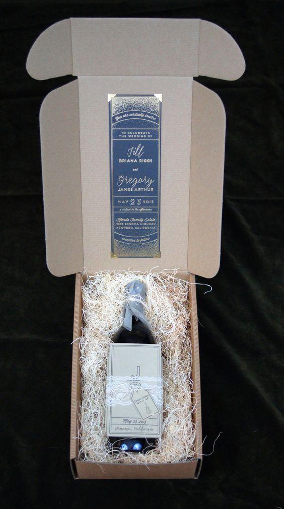 wine box vineyard wedding invitation box set with wine bottle ...