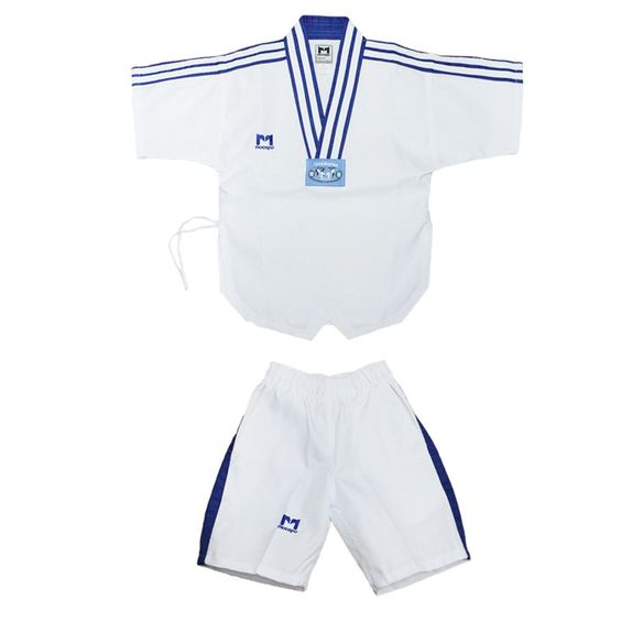 TAEKWONDO SUMMER UNIFORM Dobok Suits 95~185 Blue Stripes Diamond Pattern MMA TKD
