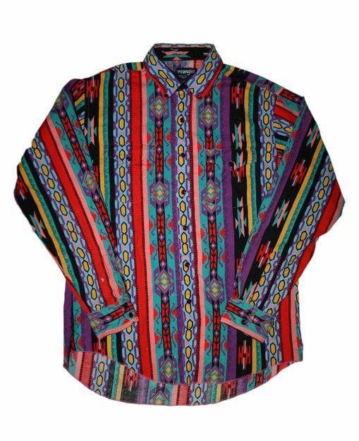 Vintage 90s Colorful Wrangler Button Down Shirt Mens Size