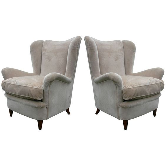 Pair Italian Wing Armchairs | From a unique collection of antique and modern lounge chairs at https://www.1stdibs.com/furniture/seating/lounge-chairs/