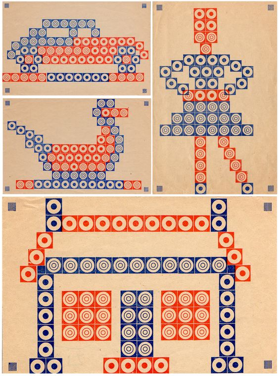 Inspiration sheets from an old French peg game.