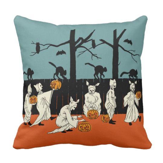 Vintage Early 1900s Halloween Spooks On Parade Throw Pillow Zazzle Com Halloween Pillows Pillows Throw Pillows