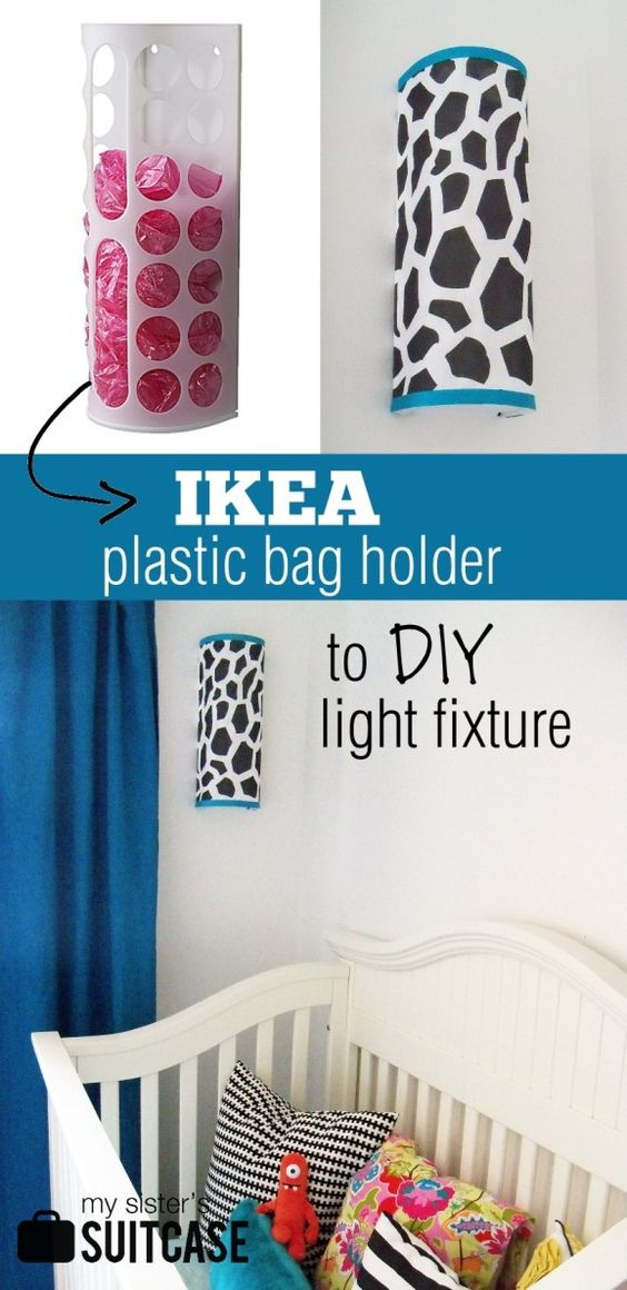 DIY light fixture from an IKEA plastic bag holder {tutorial} from www.mysisterssuitcaseblog.com  #upcycle #ikea #diy