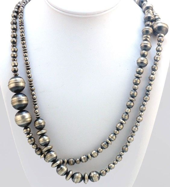 bead necklaces navajo and sterling silver on