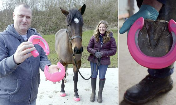 Crocs for horses: Plastic slip-on hooves that making nailing horseshoes a thing of the past. -   Equestrian designer John Wright came up with the 'GluShu', which uses a traditional metal horseshoe that is coated in a durable thick plastic covering and glued to the animal's foot rather than nailed.
