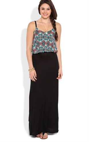 Deb Shops tribal chiffon spaghetti strap popover contrast rayon span #maxi skirt $30.00....I really love this maxi dress