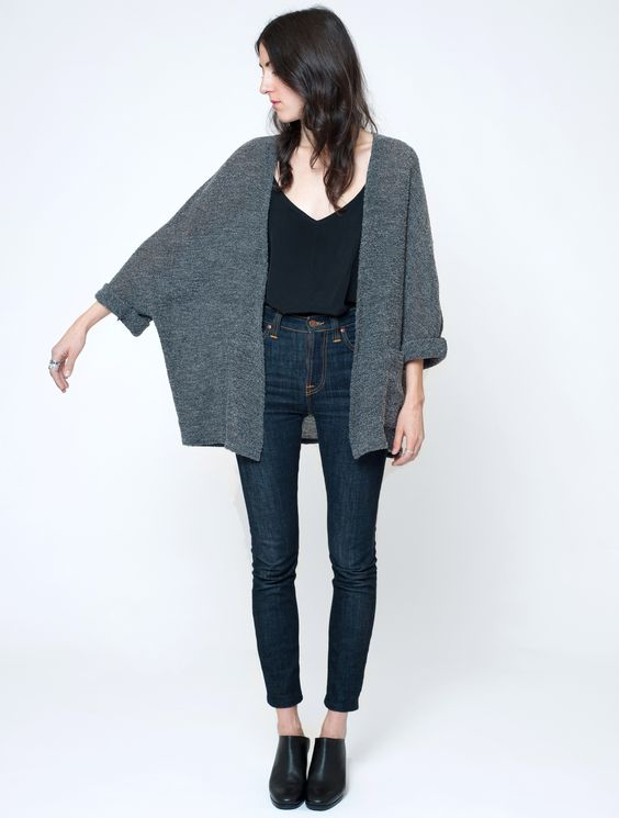 First Rite wool-boucle cape. I like the drape of this, with the skinny jeans and black shoes.