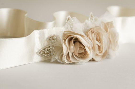 Champagne sash Beige bridal sash Champagne by floraljewellery