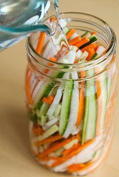 Zesty Vietnamese Pickled Vegetables Recipe http://userealbutter.com/2011/08/22/vietnamese-pickled-vegetables-recipe/