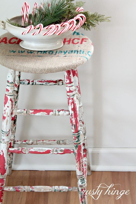 Red/White ~ candy canes & chippy stool