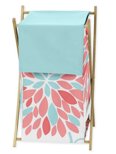 Coral and Turquoise Floral Print Laundry Clothes Hamper