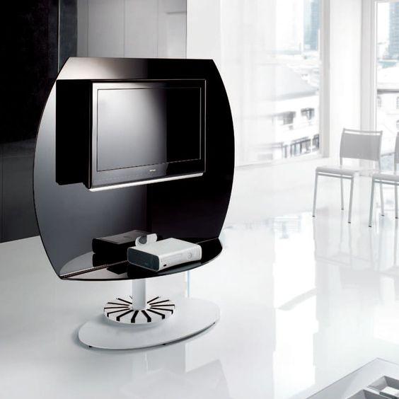 Meuble tv en verre tremp ultra design pied en acier fixe for Meuble tv en verre design