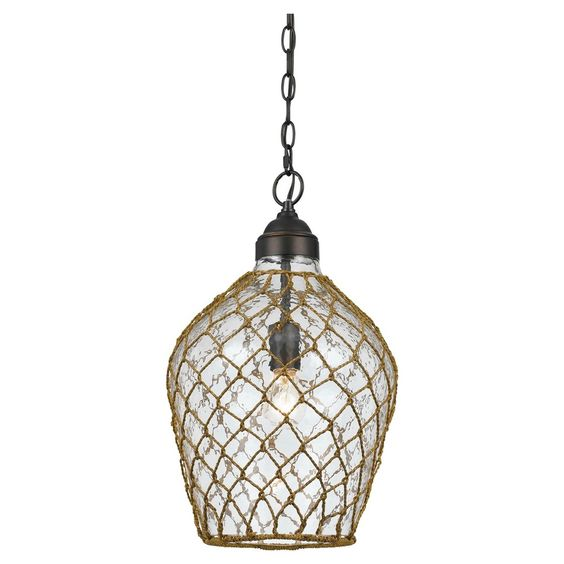 "Cal Lighting Rope Wrapped Bubble Glass Pendant (60"" W x 4"")"