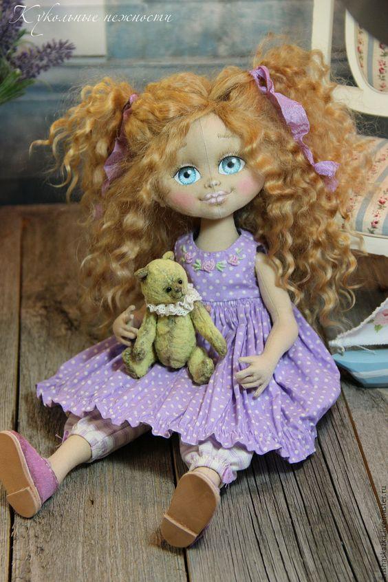 Купить Виолетка .Кукла авторская .Кукла текстильная . - бежевый, девочка, девочка с мишкой, куклы тула:
