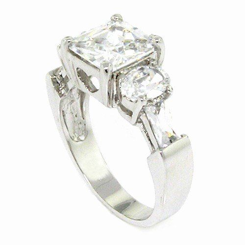 Classic Engagement Ring w/Square Radiant White CZ Alljoy. $15.99
