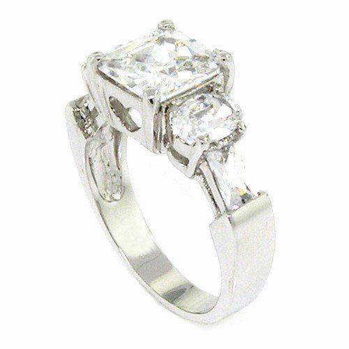 Classic Engagement Ring w/Square Radiant White CZ Alljoy. $15.99