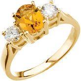 Citrine & Diamond Accented 3-Stone Ring