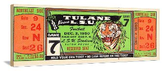 LSU football gifts made from authentic vintage LSU football tickets like this 1950 Tulane vs. LSU ticket. Football gifts that are perfect for a game room or office! http://www.shop.47straightposters.com/1950-Tulane-vs-LSU-Football-Ticket-Art-50-LSU.htm