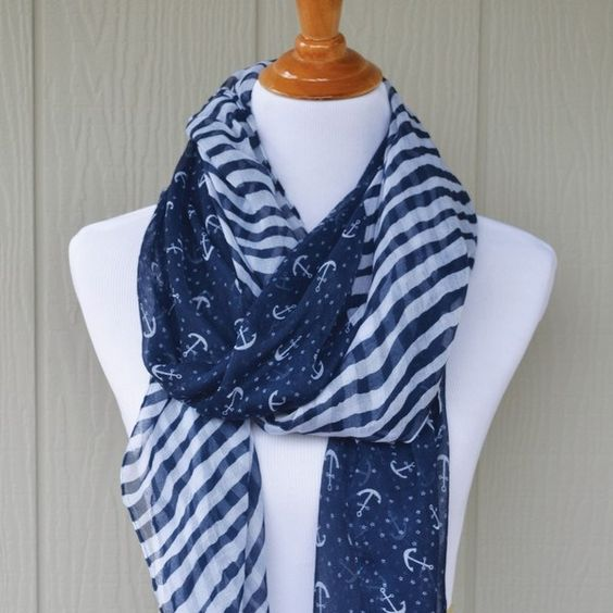 These adorable lightweight Anchor Scarves are perfect for year round wear! These dress up any outfit and looks great with a jacket, tank, or basic tee. This awesome deal won't last so don't wait!Colors Available: Navy Small AnchorsWhite Small AnchorsNavy Stripe Anchors: